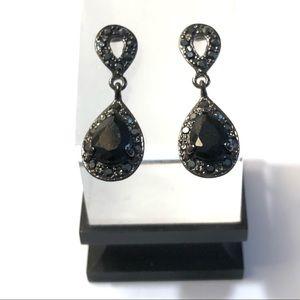 Vintage Black Monet Rhinestone Crystal Earrings